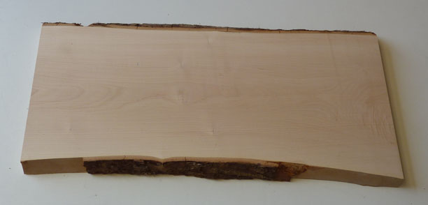 l'empreinte du bois : planche d'erable avec écorce - 3 cm d'épaisseur